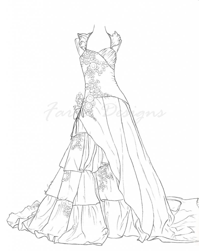 811x1024 Barbie Princess Dress Drawing Barbie Night Dress Coloring Only
