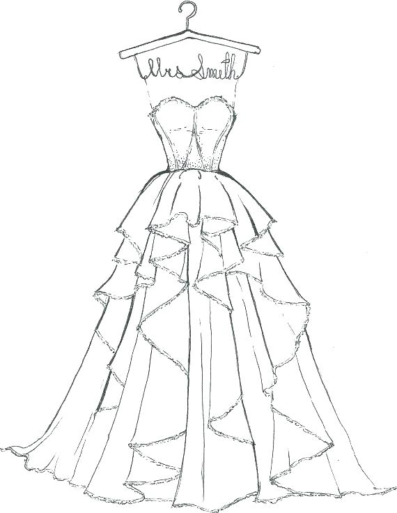570x735 Coloring Pages Of Wedding Dresses Pages Of Wedding Dresses