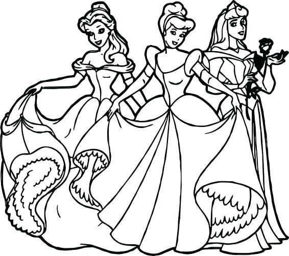 566x500 All Disney Princess Coloring Pages