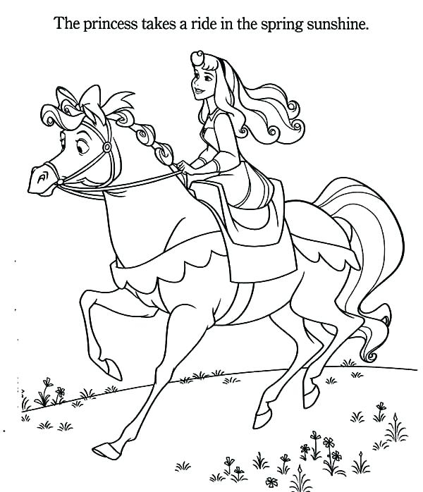 600x698 Coloring Pages Princess Riding Horse Horse Coloring Pages Free