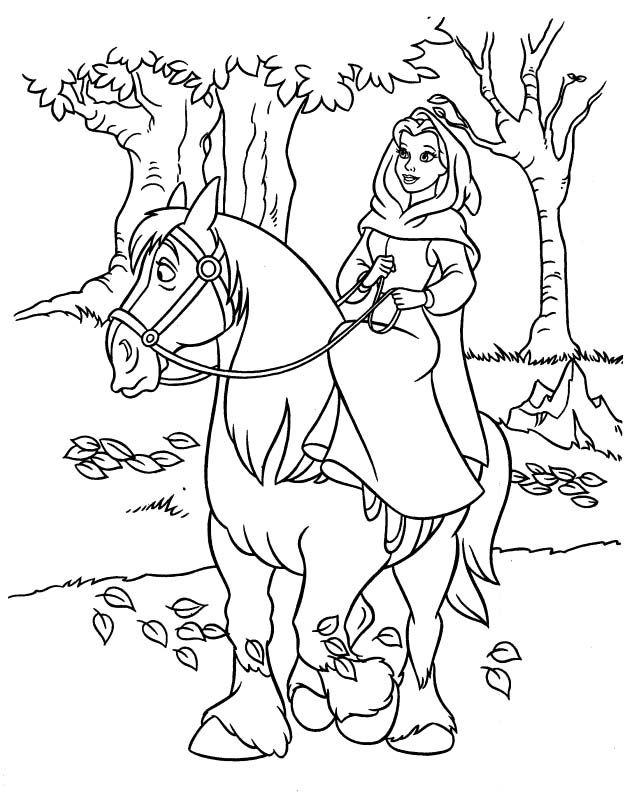 629x792 Horse Coloring Pages, Riding Horses And Princess Belle
