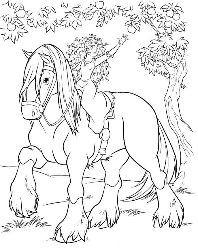 687x859 In Princess And Horse Coloring Pages