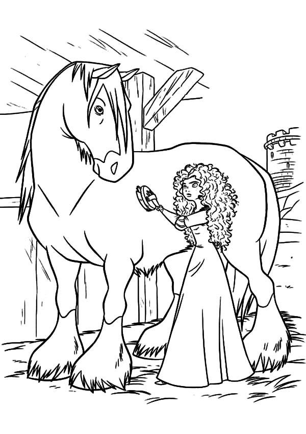 600x850 Princess Merida Cleaning Her Horse Coloring Pages