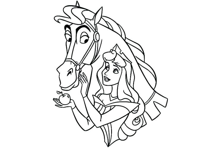 700x500 Princess Riding Horse Coloring Page Aurora Dresses Up He Pages