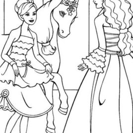 268x268 Barbie Princess Would Like To Ride Her Horse Coloring Page