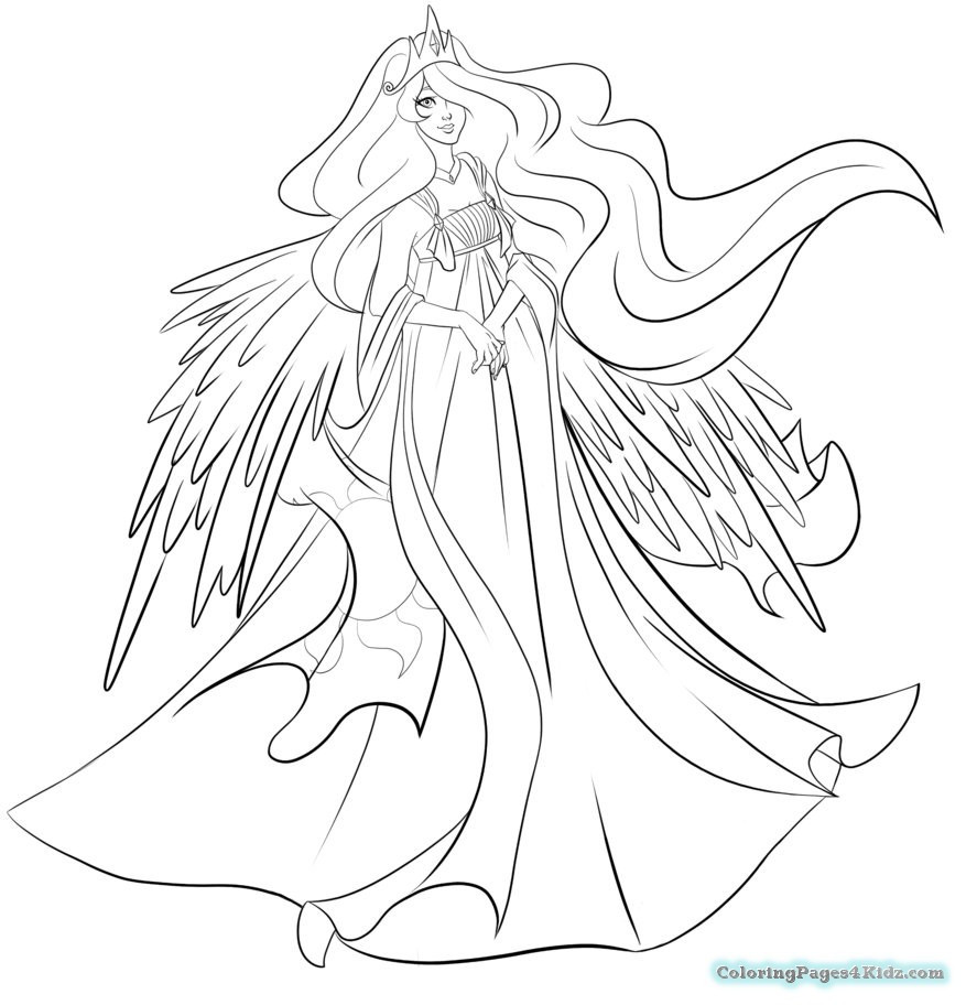 877x912 My Little Pony Princess Celestia Coloring Pages And Luna