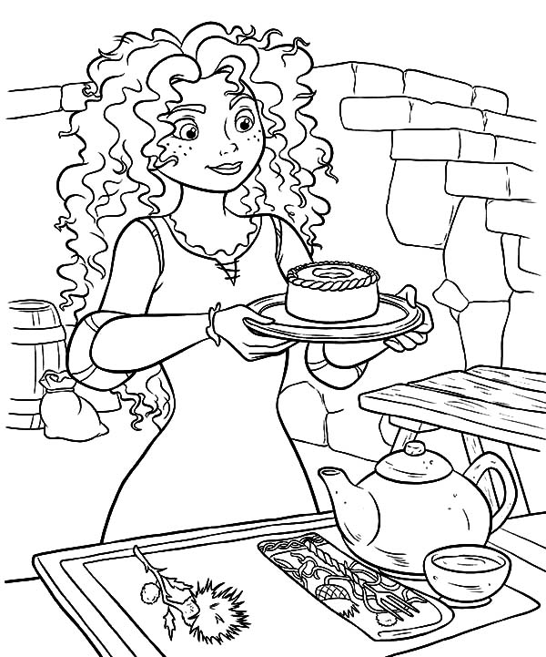 600x721 Princess Merida Serving Cookie And Tea Coloring Pages Princess