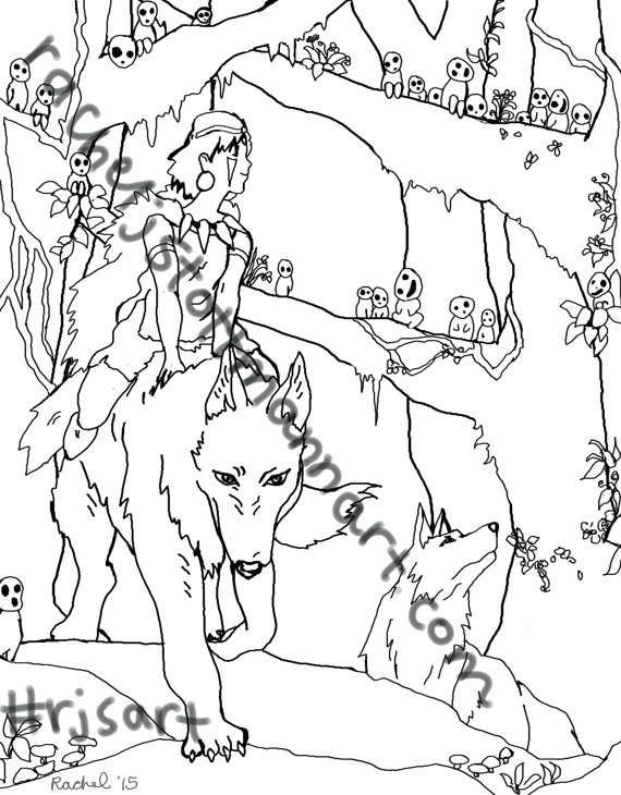 570x730 Princess Mononoke Coloring Pages