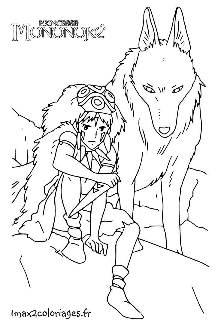 736x1084 Princess Mononoke Coloring Pages Studio Ghibli