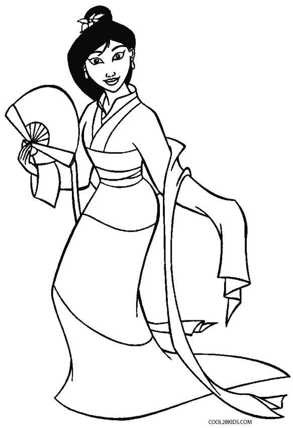 583x850 Mulan Coloring Pages Y Blank Pattern Mulan Disney