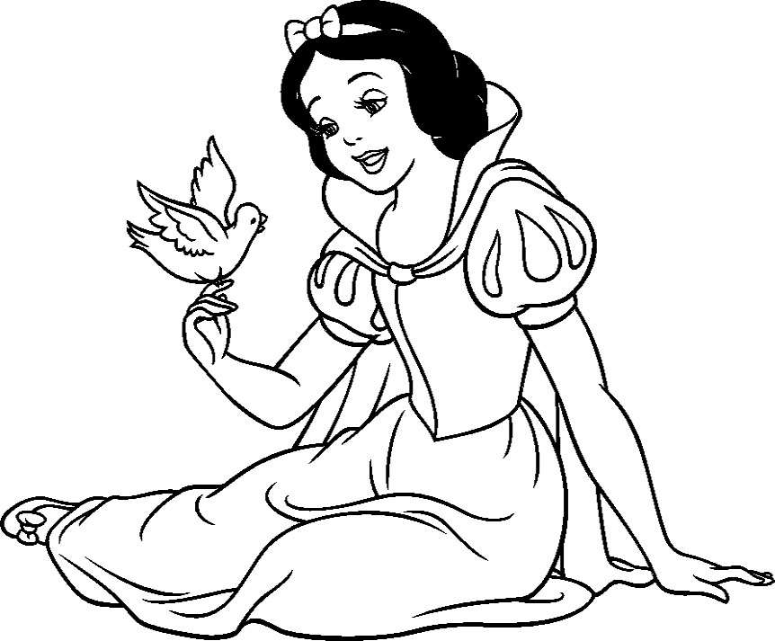 862x713 Princess Snow White With Bird Coloring Pages