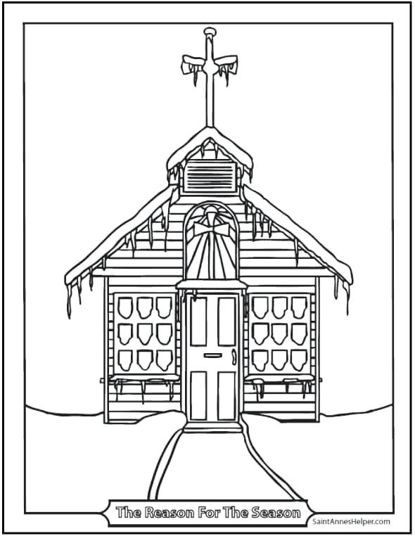 590x762 Early Church Coloring Page Printable Coloring Page Snowy Church