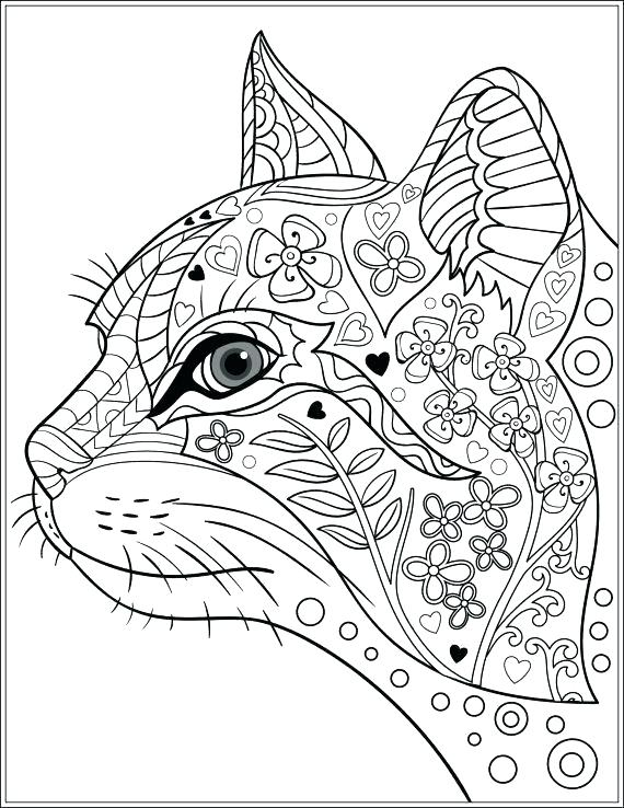 570x738 Cat Coloring Pages For Adults Free Adult Coloring Book