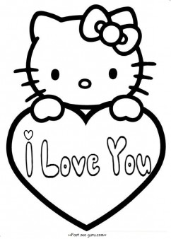 242x338 Hello Kitty Valentines Day Coloring Pages For Kids