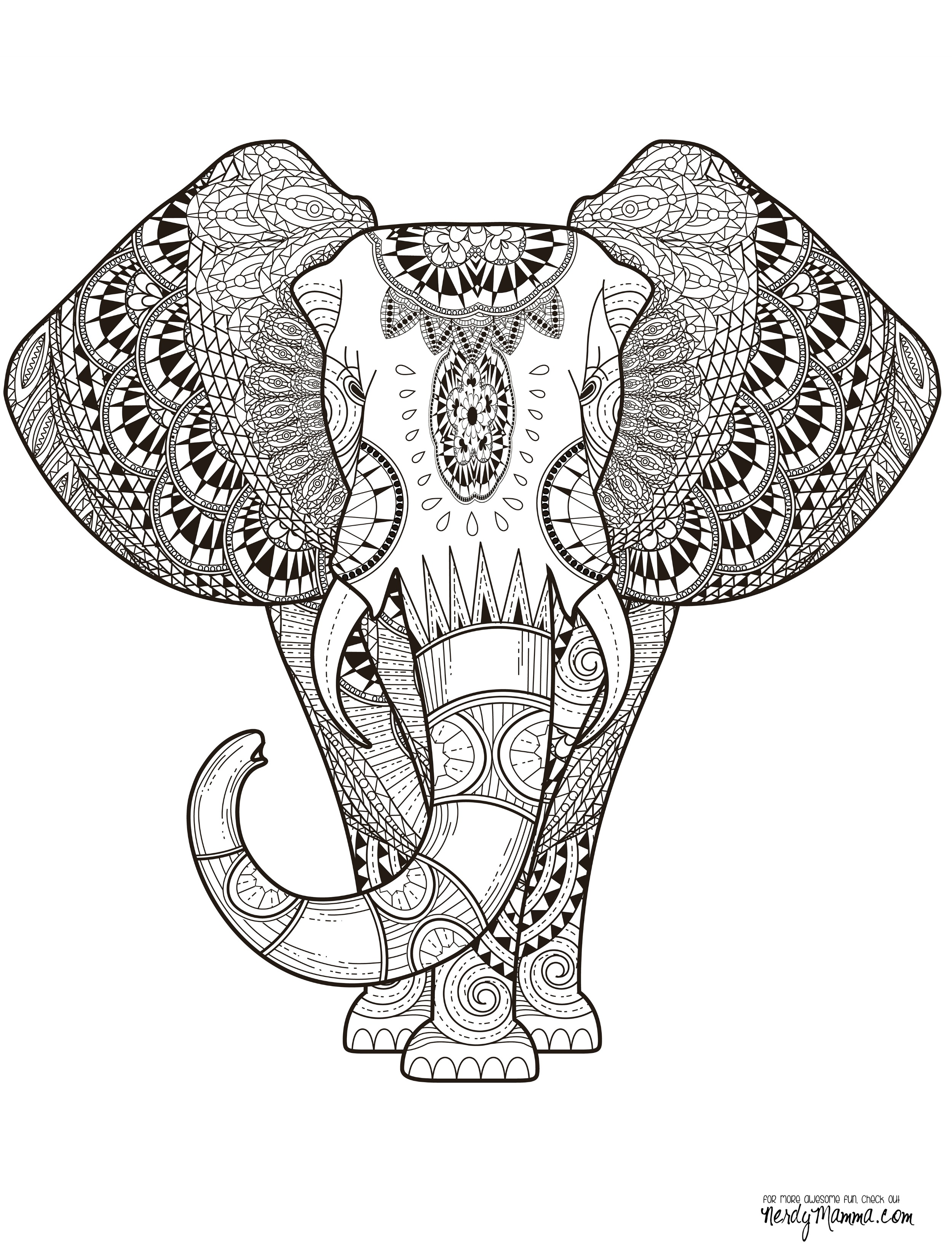 Printable Adult Coloring Pages Elephant