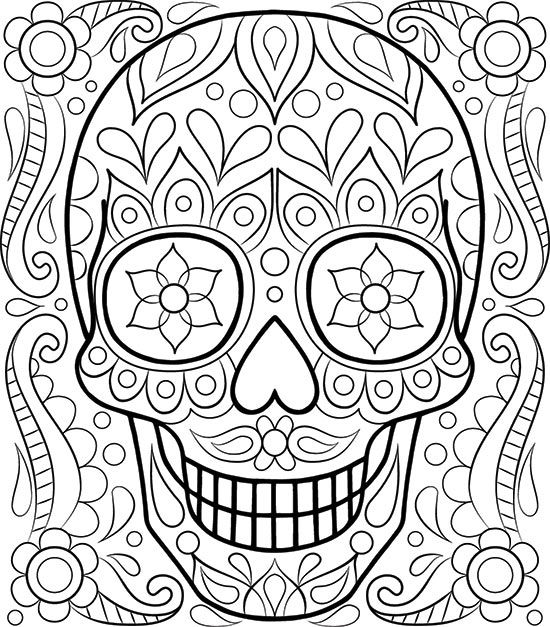 550x627 Free Sugar Skull Coloring Page