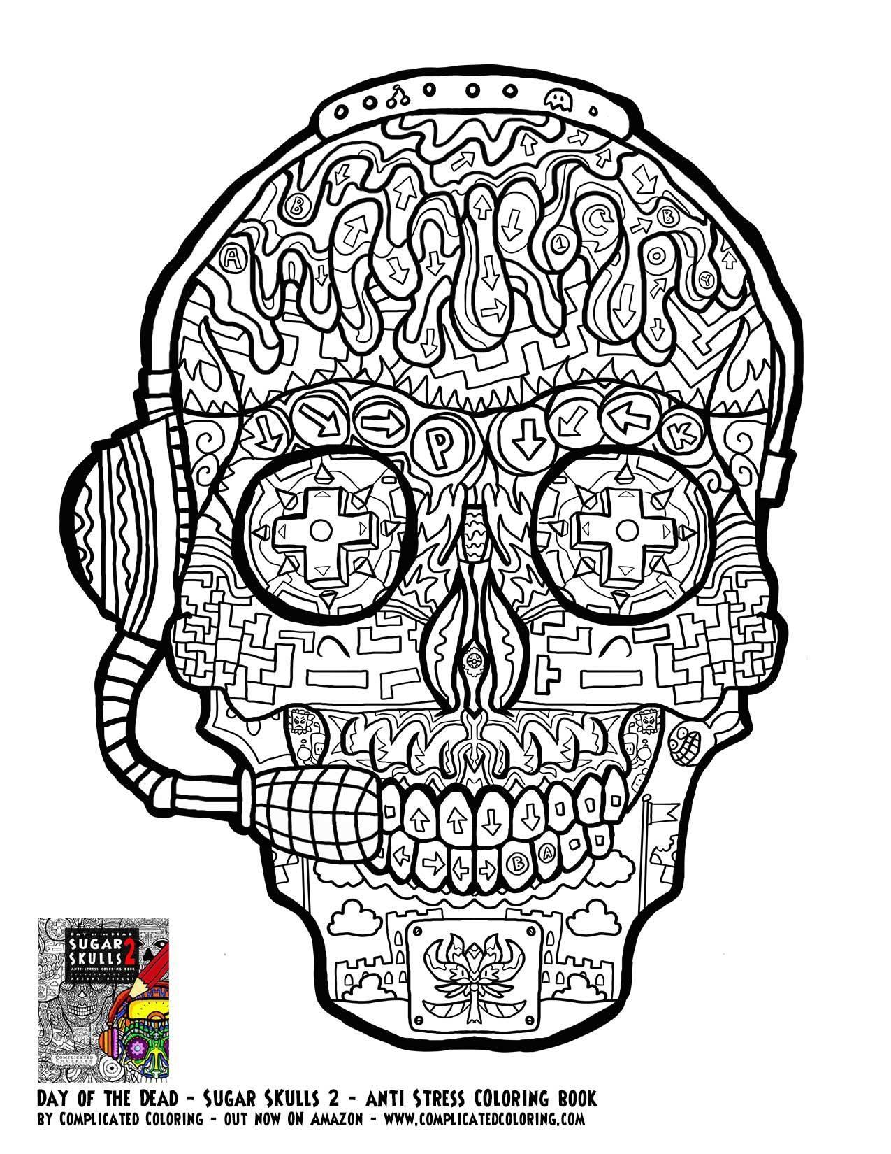 1275x1650 Gamer Sugar Skull Free Printable Coloring Page Plicated Printable
