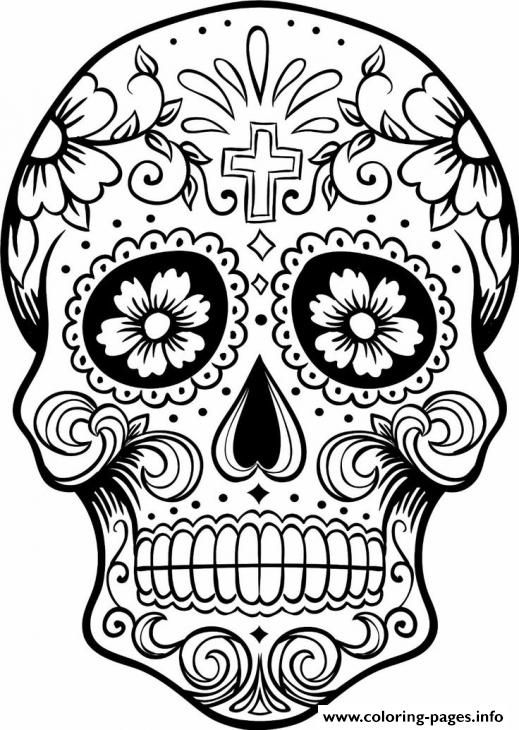 519x730 Print Intricating Sugar Skull Printable For Adults Coloring Pages