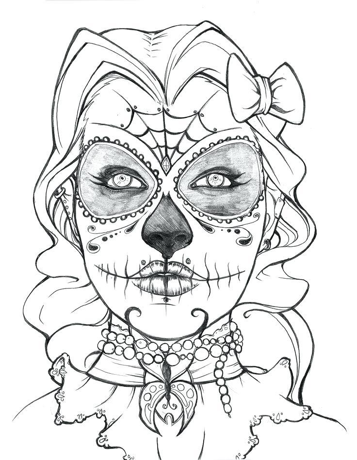 736x949 Printable Sugar Skull Coloring Pages Sugar Skull Free Coloring