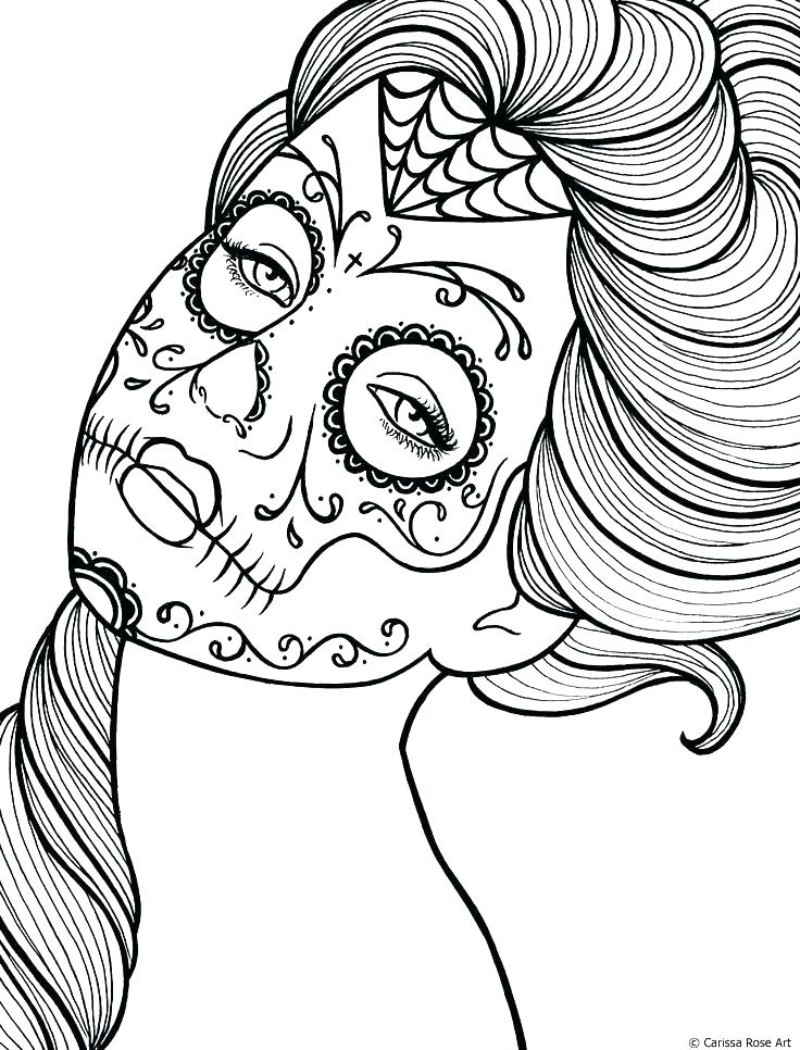 736x966 Sugar Skull Coloring Pages Printable Free Printable Printable