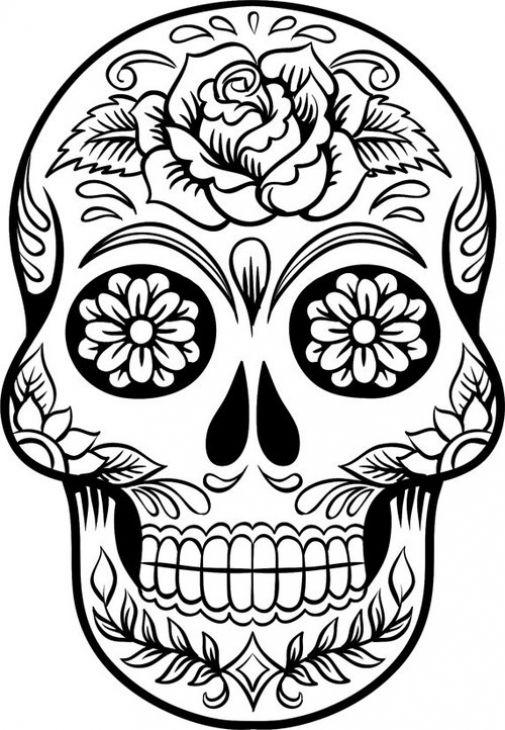 505x730 Sugar Skulls Coloring Pages Extraordinary Sugar Skulls Coloring