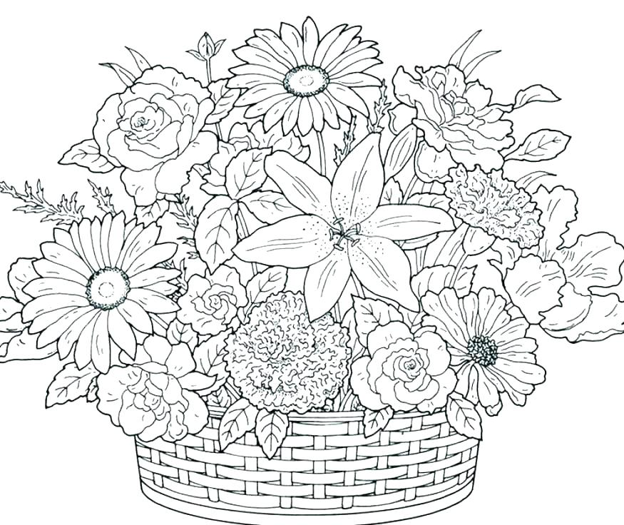 875x736 Coloring Pages For Flowers Coloring Page Flower Plain Ideas