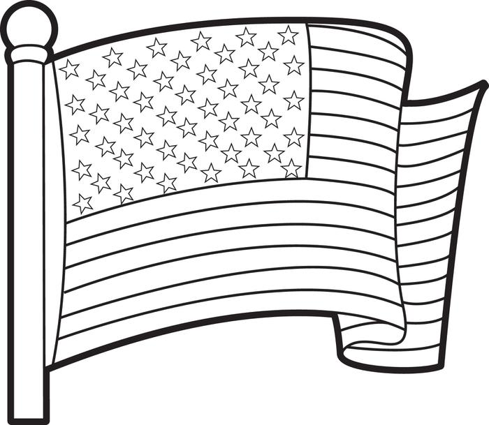 700x609 Printable American Flag Coloring Page