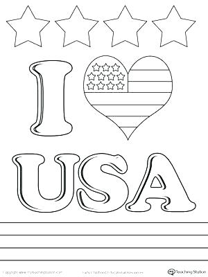 300x400 Usa Flag Coloring Pages Coloring Pages Coloring Page I Love