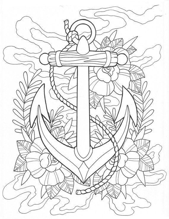 570x738 Anchor Tattoo Coloring Page Digital Download Anchor Printable