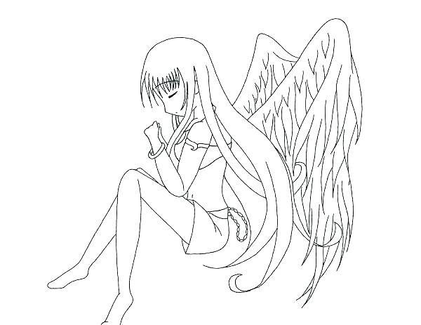 600x463 Printable Angel Coloring Pages Angel Coloring Page Anime Angel