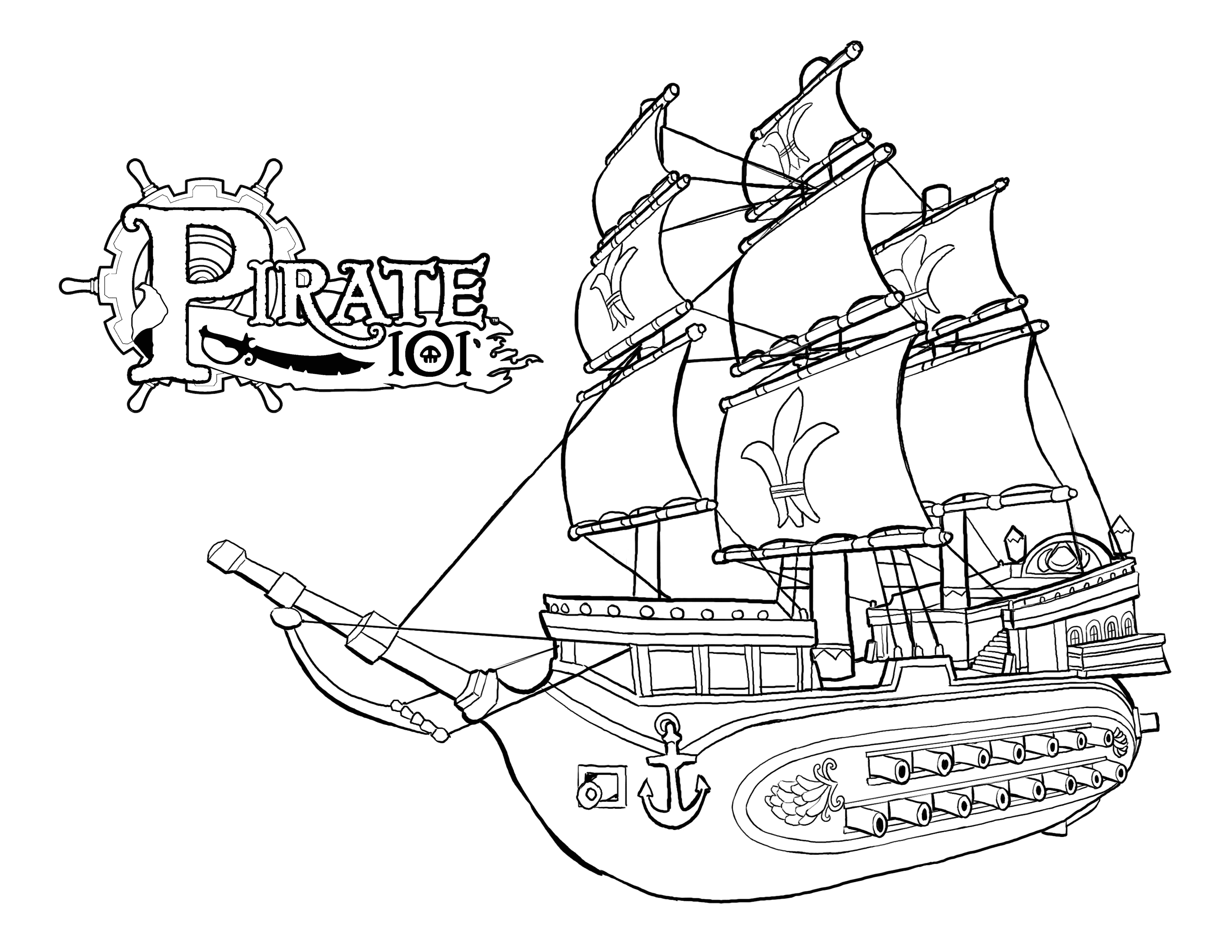 3300x2550 Sturdy Sunken Pirate Ship Coloring Page Bucky The Pages To Funny