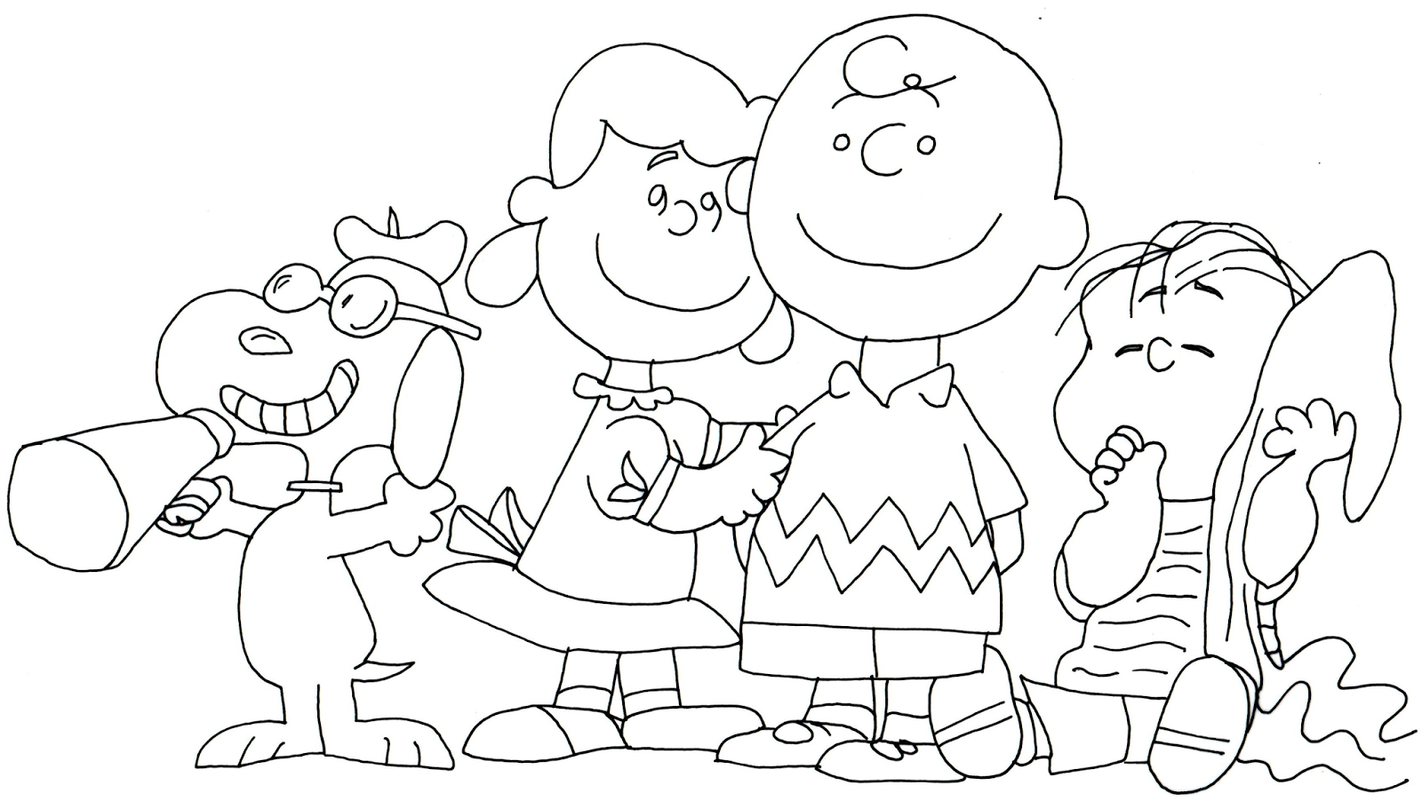 1600x902 Free Printable Coloring Page For Snoopy, Lucy, Charlie Brown