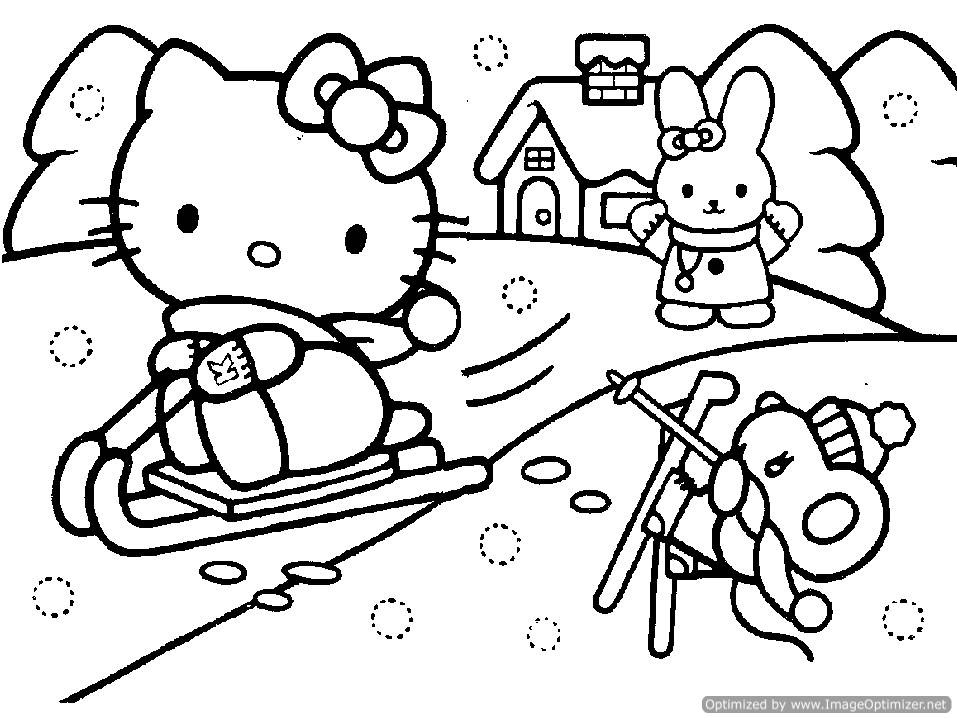 957x718 Hello Kitty Christmas Coloring Pages For Kids Hello Kitty
