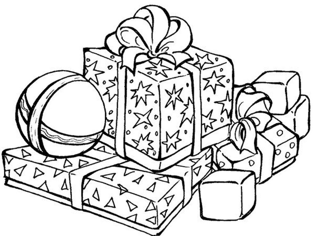 1021x768 Printable Christmas Presents Coloring Pages