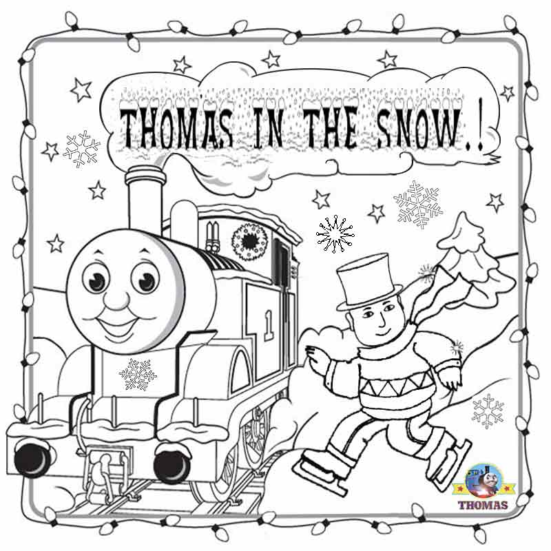 800x800 Free Christmas Coloring Pages For Kids Printable Thomas Snow