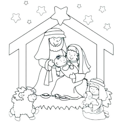 520x520 Christmas Nativity Coloring Pages