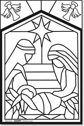 291x435 Christmas Stained Glass Coloring Pages