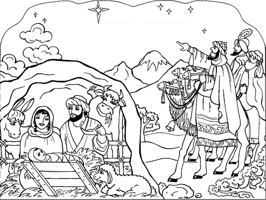 520x391 Coloring Pages For Christmas Nativity