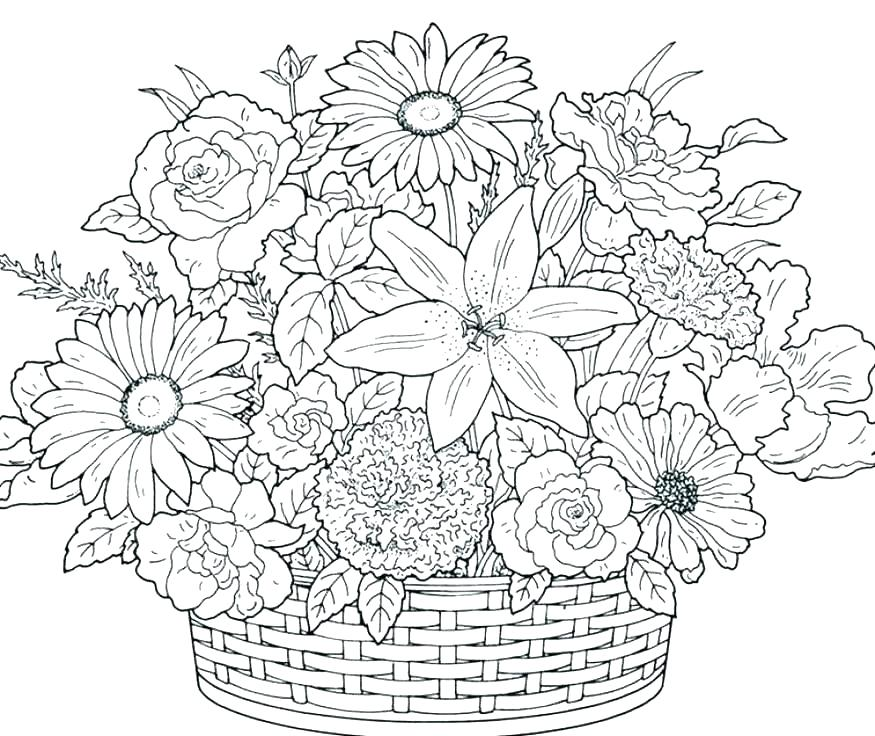 875x736 Coloring Pages Flowers For Adults Flowers Printable Coloring Pages