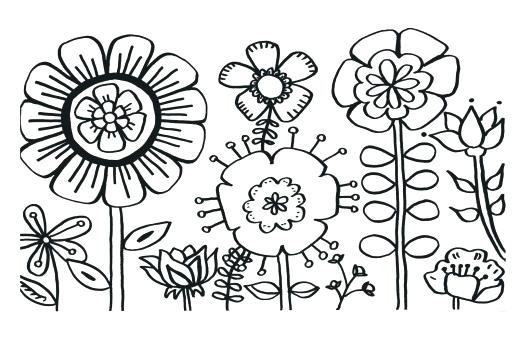 520x350 Flowers And Butterflies Coloring Pages Flower Printable Coloring