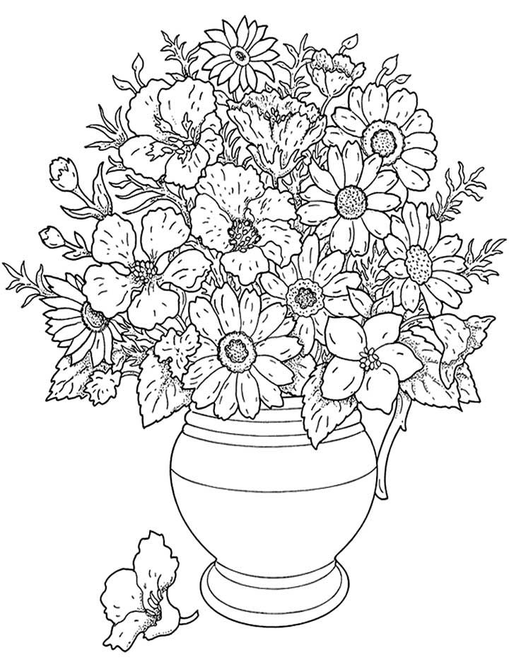photograph about Flower Coloring Pages for Adults Printable known as Printable Coloring Webpages For Grown ups Bouquets at GetDrawings