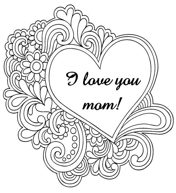 583x638 Adult Coloring Pages Mother's Day