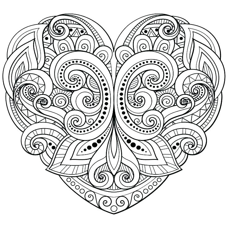 736x736 Heart Coloring Pages Printable