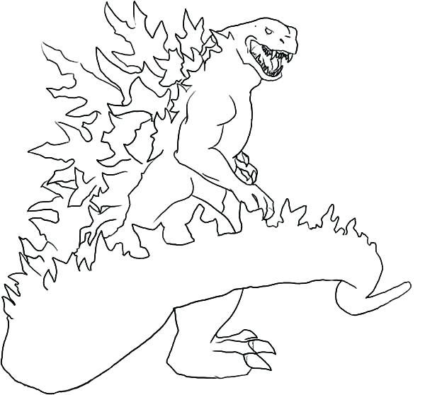 600x558 Godzilla Printable Coloring Pages
