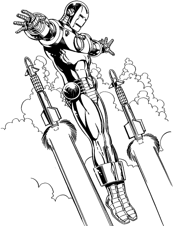 595x778 Iron Man Flying Coloring Page Coloring Pages