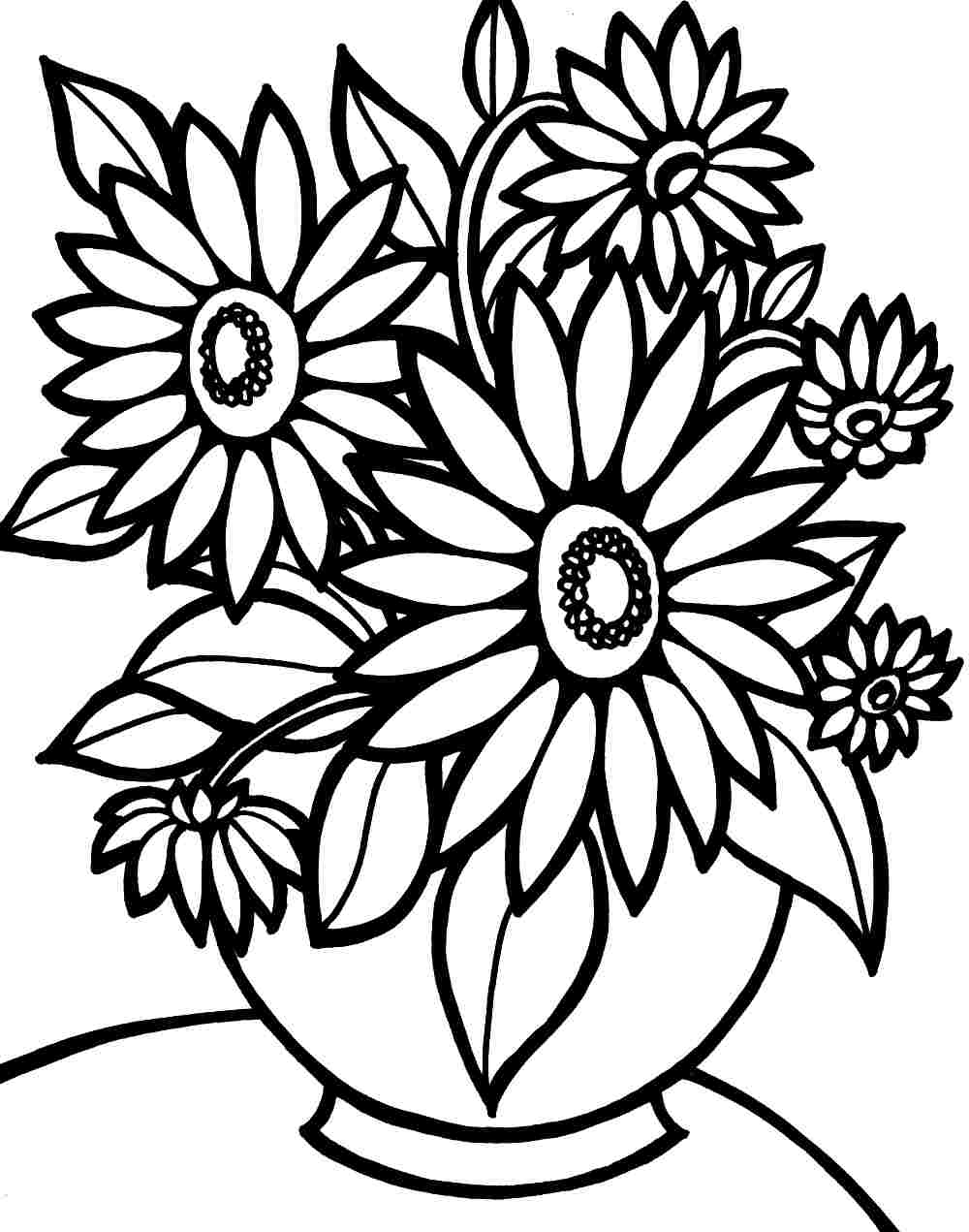 1000x1271 Flower Printable Coloring Pages Colouring Bouquet Flowers Free