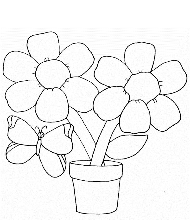 790x922 Simple Flower Coloring Page With Butterfly For Kids Flower
