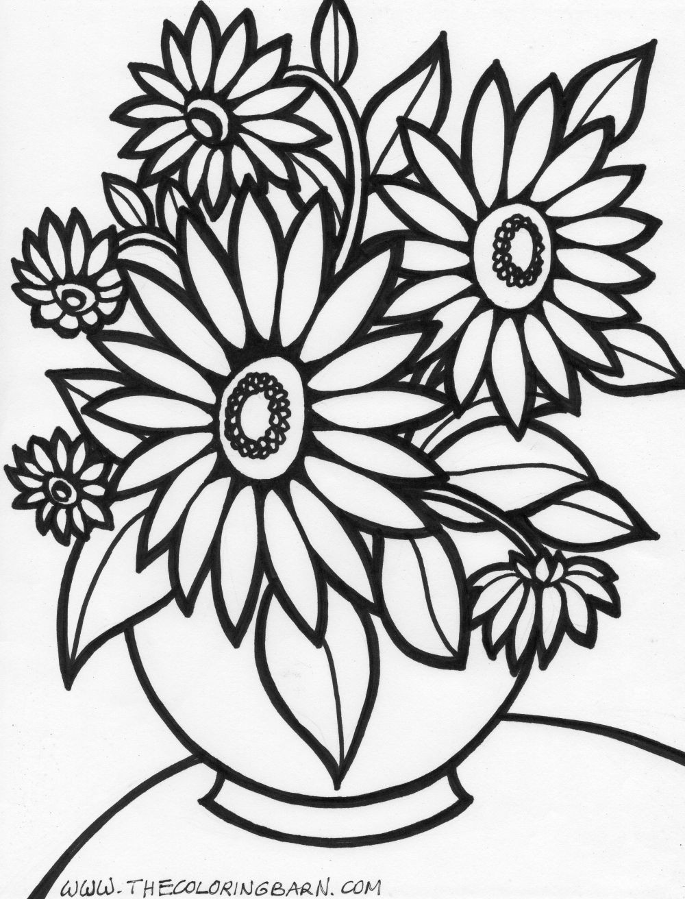 Simple Flower Printable Coloring Pages - Flowers Healthy