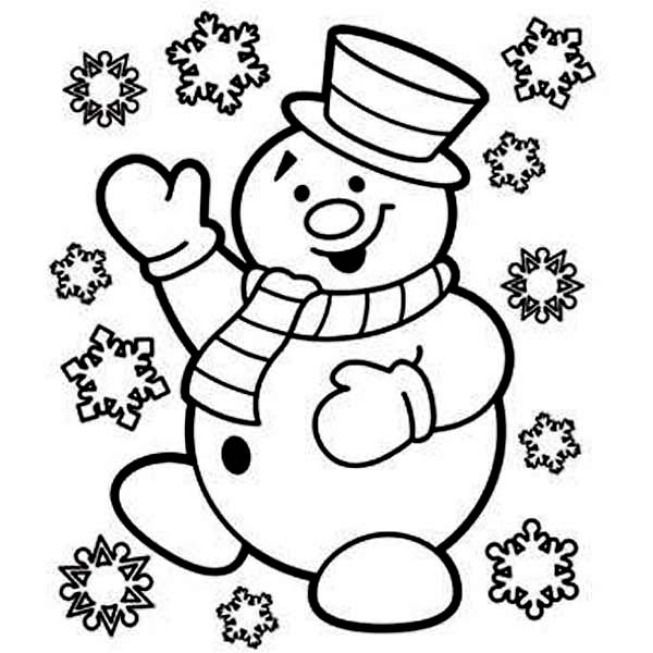 600x600 Mr Snowman Is Very Happy For Christmas Coloring Page