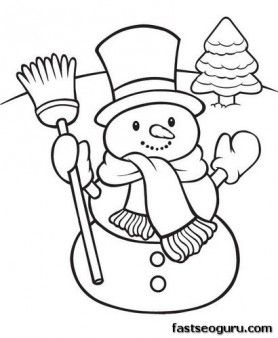 278x338 Printable Happy Snowman Christmas Coloring Pages